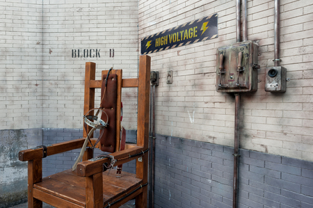 Execution chamber recreation, with electric chair and high voltage apparatus
