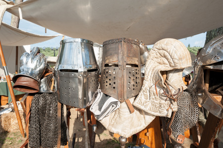 Helmets and other combat equipment during a medieval joust reenactment.