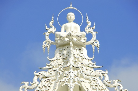 White Architecture with Blue Sky,  Chiangrai Thailand photo