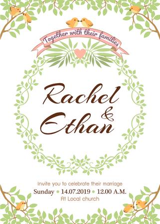 Wedding card template with natural theme Illusztráció