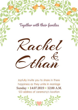 Wedding card template with natural theme illustration.