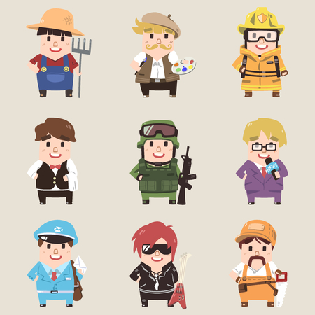 Professions collection icon set in cute cartoon style