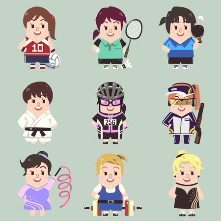 Vector sport girl collection in flat cartoon style.