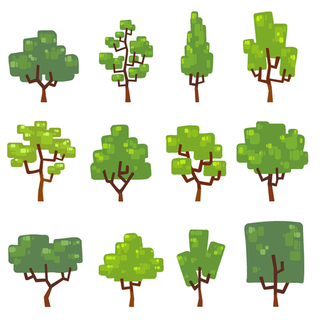 Set vector illustrations of trees in different design.