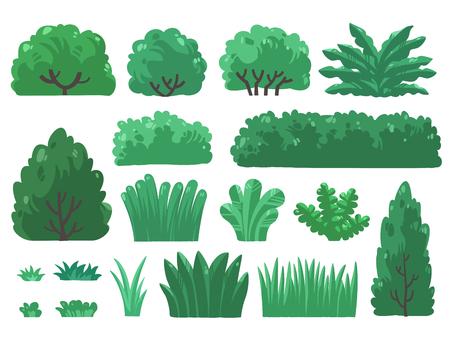 Set of trees and bushes icon design Illusztráció