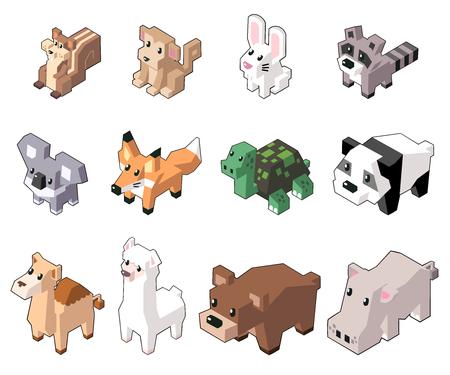 Set vector illustration of cute isometric animals in minimal style. Isolated on background. (Part 3) Illusztráció