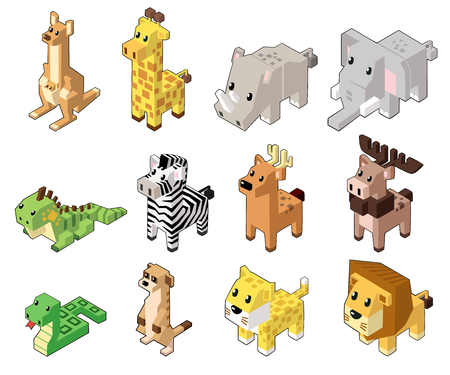 Set vector illustration of cute isometric animals in minimal style. Isolated on background. (Part 2)