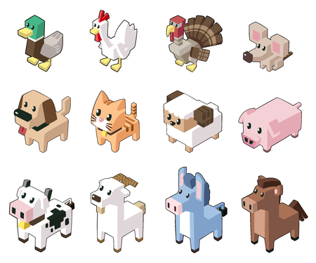 Set vector illustration of cute isometric animals in minimal style. Isolated on background. (Part 1) Illusztráció