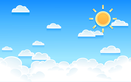 Vector illustration of cloudy sky with bright sun in minimal style.