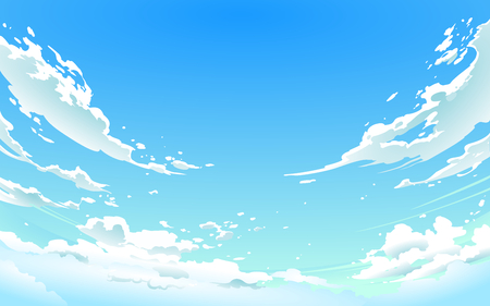 Vector illustration of cloudy sky in Anime style. Stok Fotoğraf - 100999925