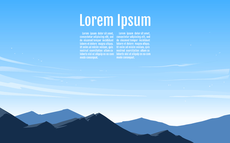 Vector illustration of beautiful clear sky with blue mountain.