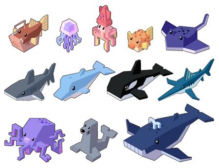 Set vector illustration of cute isometric aquatic animals in style isolated on background. Illusztráció