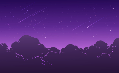 Beautiful starry nigh sky background. Clouds with stars and meteor. Vector illustration. Illusztráció