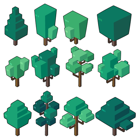 Set vector illustrations of tree in  minimal isometric design. ( Isolated  on background)