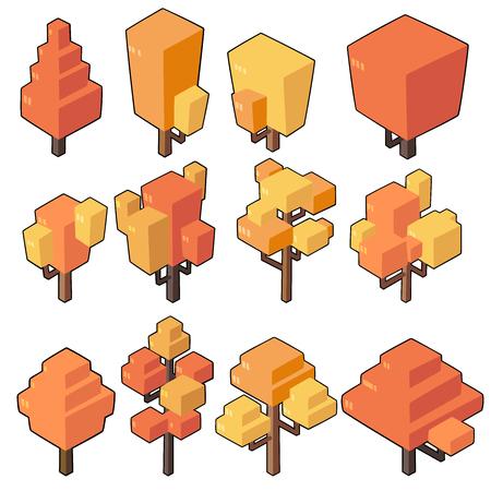 Set vector illustrations of Autumn tree in  minimal isometric design. ( Isolated  on background) Illusztráció