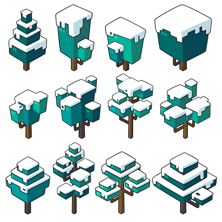 Set vector illustrations of Winter tree in  minimal isometric design. ( Isolated  on background)