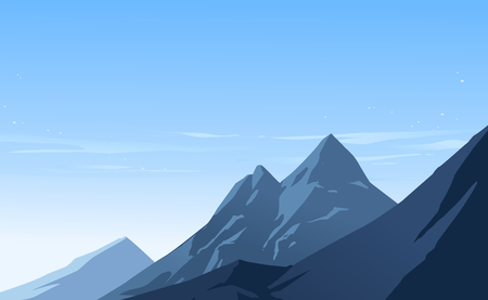 Illustration of after snowfall scene. Bright clear blue sky and mountain with snow. Vector illustration.