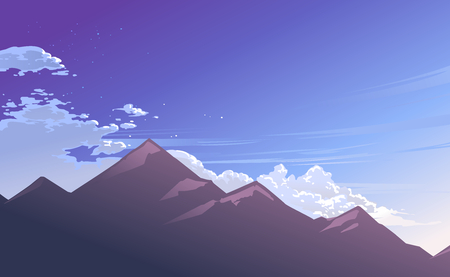 Illustration of cloudy blue sky and mountain with morning ray. Vector illustration.