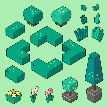 Set vector illustrations of bush, grass and elements for gardenforest in minimal isometric design. ( Isolated  on background)