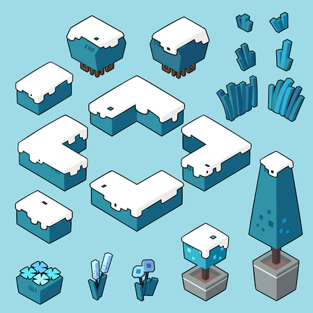 Set vector illustrations of Winter bush, grass and elements for gardenforest in minimal isometric design. ( Isolated  on background)