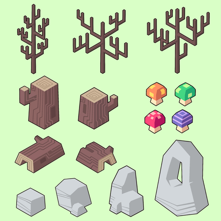 Set vector illustrations of rock, trunk, branch and elements for gardenforest in minimal isometric design.  Isolated  on background