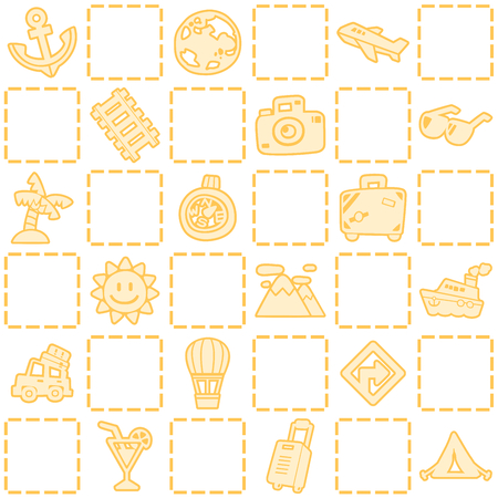 Yellow seamless background of travelvacation pattern theme. Freehand drawing in cute style. Vector illustration.