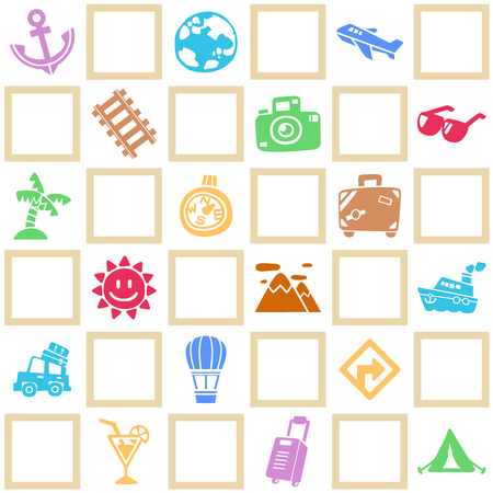 Colorful seamless background of travelvacation pattern theme. Freehand drawing in cute style.