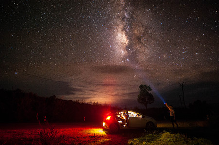 wood spider: The Milky Way in thailand Stock Photo