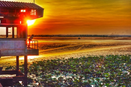 streamlet: HDR Sunset at Pump Building The Provincial Waterworks Authority Chaiyaphum Thailand