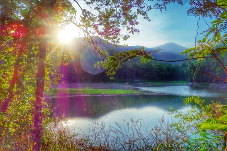 bourn: sunrise mountain water reflection Huay Joe Chiangmai Thailand