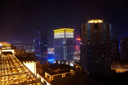 a nocturne: Night view with high-rise buildings, Zhengzhou zhengdong CBD, Henan Province, China