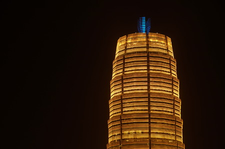 hosted: October 13, 2015, the night scene of modern high-rise buildings, Zhengzhou conferences exhibitions hotel, ZHENGDONG New Districts, central Chinas Zhengzhou City. A prime ministers meeting of the Shanghai Cooperation Organization SCO hosted by China is  Editorial