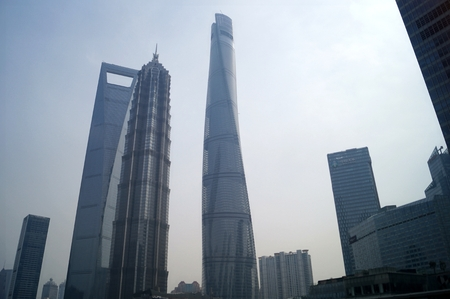 jin mao tower: Shanghai World Financial CenterSWFC, Jin Mao Tower, Shanghai Tower and other high-rise buildings, in Lujiazui Finance and Trade Zone, Pudong New District, Shanghai City, 26, February, 2016. Editorial