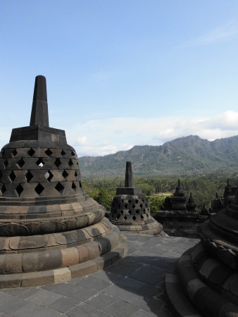 borobudur, biggest budhist temple placed in indonesia photo