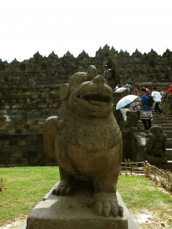sculpture of lion in borobudur temple photo