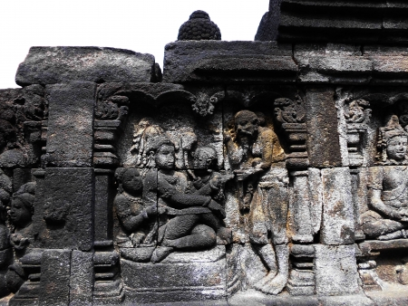 sculpture on borobudur temple photo