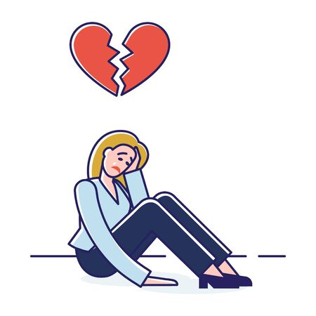 Concept Of Human Negative Emotions And Behavior. Woman Is Crying, Feeling Broken, Expressing Negative Emotions Because Relationship Conflict. Cartoon Linear Outline Flat Style. Vector Illustration