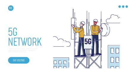 5G Network Technology Concept For Work And Communication. Website Landing Page. Ilustración de vector