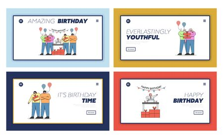 Happy Birthday Celebration Concept. Website Landing Page. People Celebrate Babys First Birthday, Bringing And Giving Gifts To Child. Set Of Web Pages Cartoon Outline Linear Flat Vector Illustration