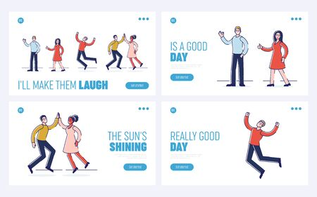 Concept Of Human Positive Emotions. Website Landing Page. Groups Of Happy People Are Expressing Positive Emotions By Giving Signs. Set Of Web Pages Cartoon Flat Outline Linear Vector Illustrations