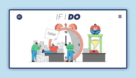 Concept of Deadline, Term and Time Waste. Website Landing Page. People Are Postponing Work For Later And Relaxing In the Office. Web Page Cartoon Outline Linear Flat Vector Illustration Иллюстрация