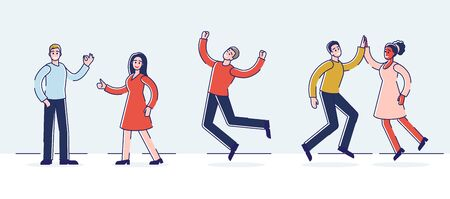 Human Positive Emotions And Happiness Concept.Group Of Happy People Are Expressing Positive Emotions Doing Hand Gestures. They Are Happy And Satisfied. Cartoon Flat Outline Linear Vector Illustration