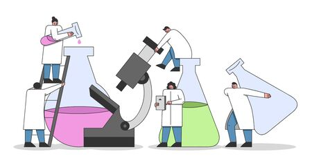 Laboratory Experiments Concept. Team of Chemists and Laboratory Technicians Is Making An Chemical Experiments Under Laboratory Conditions. Cartoon Linear Outline Flat Vector Illustrations Stock Illustratie