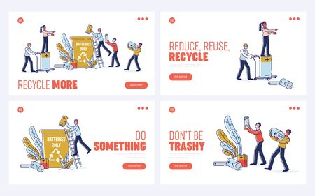 Concept Of Used Batteries Recycling. Website Landing Page. People are Collecting And Throwing Used Batteries Into Garbage Container. Set Of Web Pages Cartoon Linear Outline Flat Vector illustrations