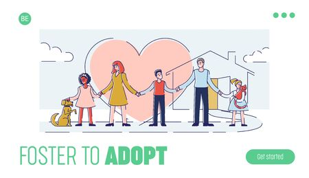Concept Of Care, Responsibility And Adoption. Website Landing Page. People Take Care Of Homeless Animals. Family Adopt Pets From Animal Shelter. Web Page Cartoon Outline Linear Vector Illustration
