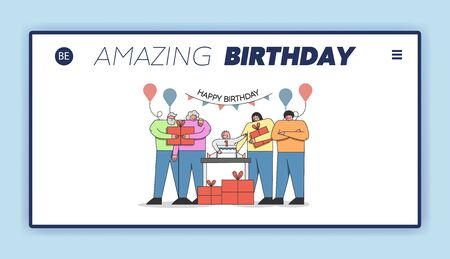 Happy Birthday Party Celebration Concept. Website Landing Page. Family Celebrate Babys First Birthday, Prepare, Bringing and Give Him Gifts.Web Page Cartoon Outline Linear Flat Vector Illustration 일러스트