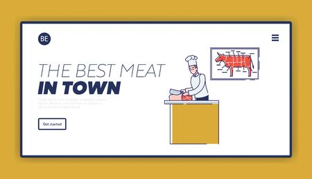 Butchery Shop Concept. Website Landing Page. Butcher Is Cutting Beef Meat. Fresh Assortment Of Various Types of Meat With Beef Cuts Diagram. Web Page Cartoon Linear Outline Flat Vector Illustration