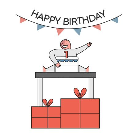 Birthday Celebration Concept. Child Celebrate His First Birthday With Big Cake With Number One On The Top, Gift Boxes On The Floor And Decorations. Cartoon Outline Linear Flat Vector Illustration Vettoriali