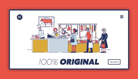 Butchery Shop Concept. Website Landing Page. People Are Choosing And Buying Fresh Meat And Meat Products Standing In A Queue In Butchery Shop. Web Page Cartoon Linear Outline Flat Vector Illustration
