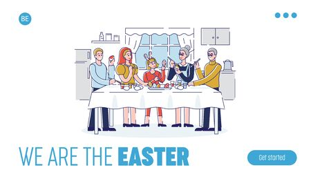 Happy Easter Concept. Website Landing Page. Happy Family Spending Time Together At home Decorating Easter Eggs. Web Page Cartoon Outline Linear Flat Vector illustration
